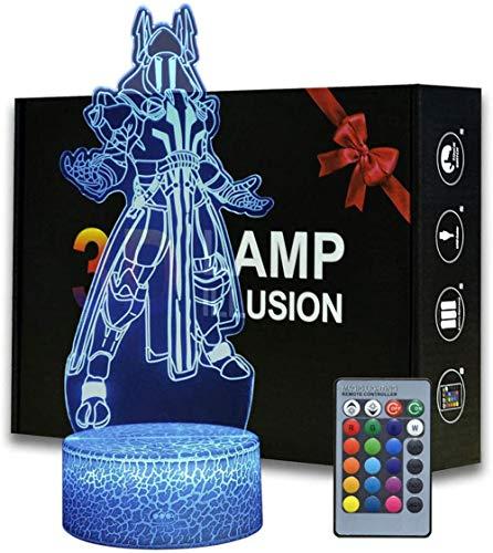 Luz LED 3D, lámpara de ilusión óptica Ice King 16 colores cambiantes lámpara de escritorio para niños Navidad cumpleaños regalos decoración del hogar