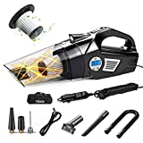 4 in 1 Portable Car Vacuum Cleaner, Digital Tire Inflator for Car, DC 12V Auto Shut Off Air Compressor with Led Light, High Power Handheld Vacuum, Wet/Dry Vacuum Bacum Cleaner for Car