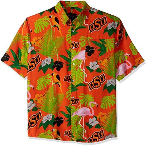 NCAA Oklahoma State Cowboys Foco Floral Button Up Shirt, Team Color, XL