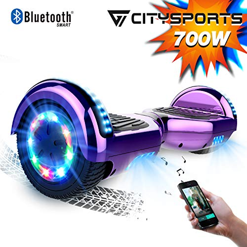 CITYSPORTS Hoverboard 6.5 Inch Bluetooth, Segway Self-Balance Board 700W Motor with LED Flash Wheels, Electric scooter Child and Adult