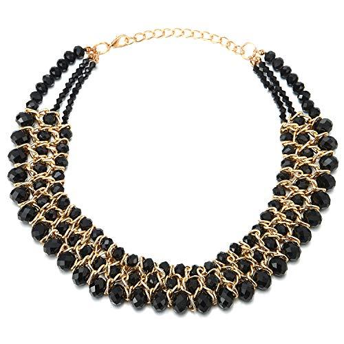 COOLSTEELANDBEYOND Statement Gargantilla Choker Collar Negro Facetado Cristal Cuentas Cadena Perlas Oro Trenzado Cadena ColganteTres Hilos
