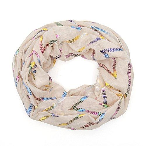 MANUMAR Loop-Schal für Damen | feines Hals-Tuch in beige mit Zacken-Motiv als perfektes Herbst Winter Accessoire | Schlauch-Schal | Damen-Schal | Rund-Schal | ideales Geschenk für Frauen