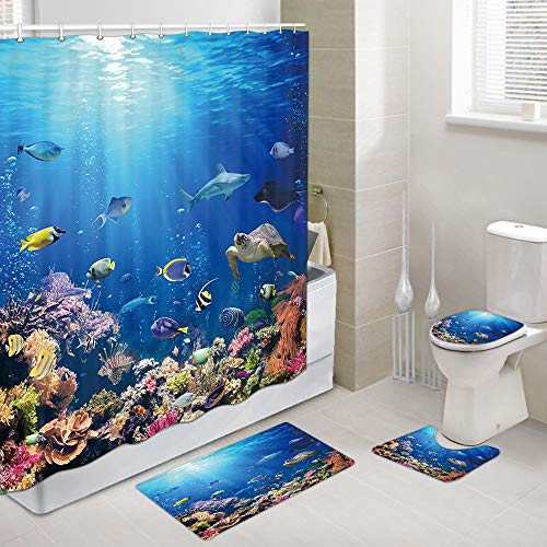 Underwater Scene with Coral Reef and Tropical Fish Shower Curtains with Bath Mat, Marine Wildlife Bathroom Decor, 4 Piece Set-Shower Curtain with Non-Slip Rug, Toilet Lid Cover, Bath Mat, 12 Hooks