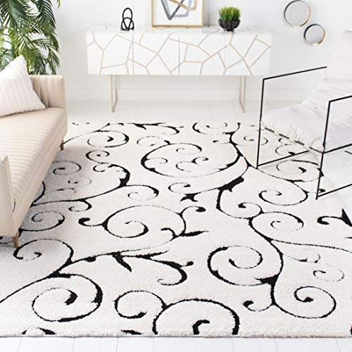 Safavieh Florida Shag Collection SG455-1290 Scrolling Vine Graceful Swirl Textured 1.18-inch Thick Area Rug, 8