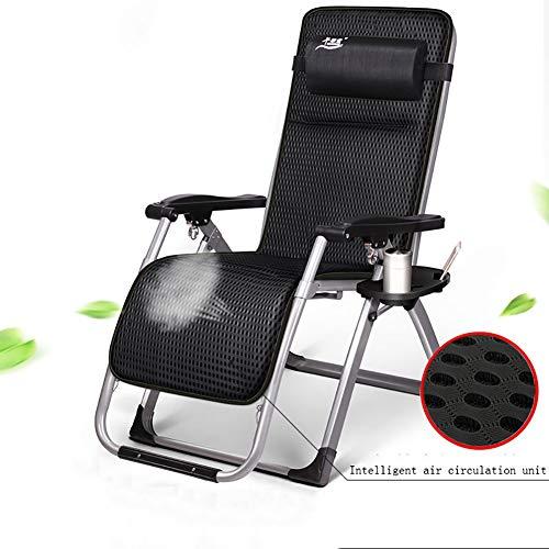 Lounge chair Zero Gravity Recliner Asiento Silla Plegable Al Aire Libre Patio Tumbona Suave Facil de Usar Multiples Posiciones Cojin de Cabeza Ajustable extraible Cojin,Black