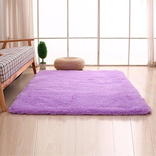 CAMAL Alfombras, Lavable Material de Lana de Seda Artificial Alfombra Decorativo Sala de Estar y Dormitorio (80cmX120cm, Violeta)