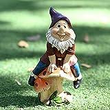 Gartenzwerg für den Außenbereich, Gartendekoration mit Gartenstatue, aus Kunstharz, lustig, für Haus, Garten, Outdoor, Kinder, Jungen, Mädchen (Pilz sitzend, 11 x 7,5 x 19 cm)
