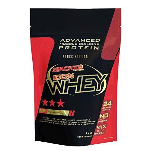 Stacker2 100% Whey Protein Proteinshake Eiweißshake Eiweiß Bodybuilding (Creamy Vanilla 454g)