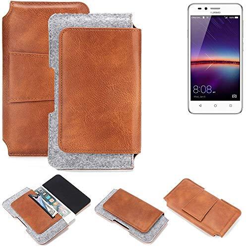 K-S-Trade® Schutz Hülle Für Huawei Y3 II Dual-SIM Gürteltasche Gürtel Tasche Schutzhülle Handy Smartphone Tasche Handyhülle PU + Filz, Braun (1x)