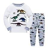Niños Pijama para niños Más Viejo Dinosaurios Ropa de Dormir Mangas largas Parte Superior + Pantalones Pjs Conjunto Tamaño 5-6 años 6T Navidad el Dia de Acción de Gracias Regalo