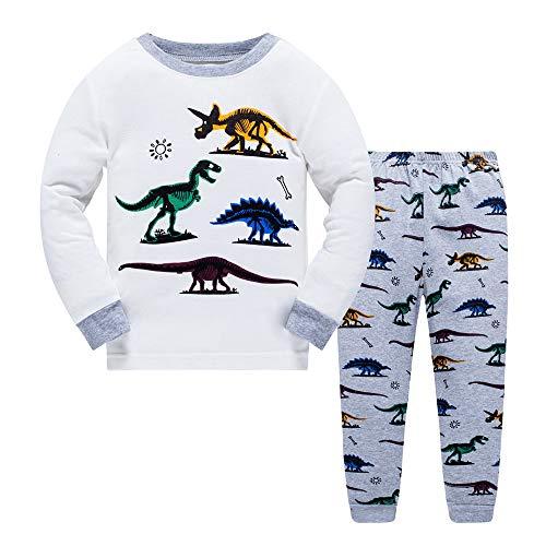 Pijamas para niños para niños Dinosaurio Ropa de Dormir de Navidad Ropa de Dormir Pijamas de Manga Larga Pjs Conjunto para niños pequeños 3-4 años 4T Navidad el Dia de Acción de Gracias Regalo