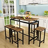 5 Pcs Dining Table Set, Modern Bar Table Set with 4 Bar Stools, Home Kitchen Breakfast Table and Chairs Set Ideal for Pub, Living Room, Breakfast Nook, Easy to Assemble