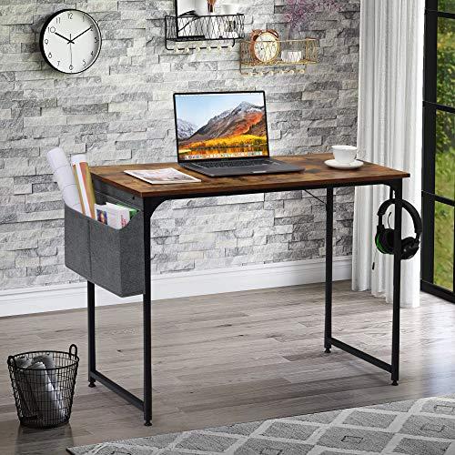 Mesa de escritorio, escritorio de estudio, mesa de oficina, para espacios pequeños, para casa, oficina, estación de trabajo (marrón)
