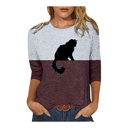 Frauen Sweatshirt Mode Lässig Kontrastfarbe Cat Print Langarm T-Shirt Loose Top Bluse
