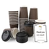 40 Packs 12oz Disposable Coffee Cups with Lids Ripple Wall Paper Cup, Insulated Ripple Paper Cups for Coffee Tea Hot Chocolate Drinks, Travel Paper Coffee Cups, To Go Cups with Lids