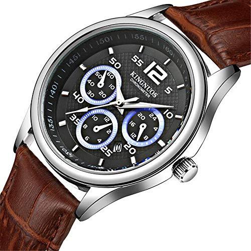ZSDGY Reloj de Cuero para Hombre de 3 Ojos y 6 Pines, Reloj Impermeable de Calendario único, Reloj electrónico de Doble Escala C
