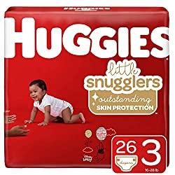 Huggies Little Snugglers Baby Diapers, Size 3 (16-28 lb.), 26 Ct, Jumbo Pack (Packaging May Vary)