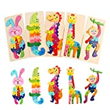 Wooden Pegged Puzzles for Toddlers Toys Montessori Stem Animal Jigsaw Preschool Block Learning Toys Gifts for Infant Boy Girls Kids Age 1 2 3 Year Old Activities Educational Game (5 Packs Animal)