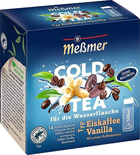 Meßmer Cold Tea Eiskaffee Vanilla | Für die Wasserflasche | mit echten Kaffeebohnen | ohne Zucker | ohne Kalorien | Alternative zu zuckerhaltigen Getränken wie Limonade oder Saft | 14 Pyramidenbeutel