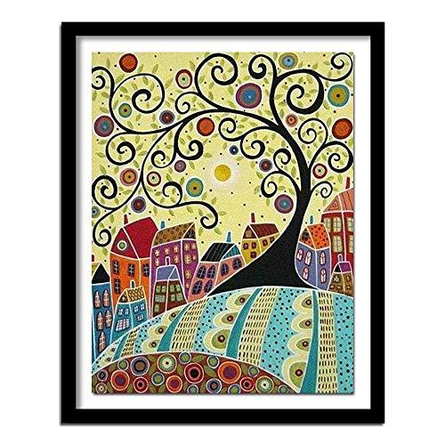 DIY Paint by Numbers Kit/Casa de árbol Abstracta de Dibujos Animados 50x70cm sin Marco/Pintura de Bricolaje por números para Adultos, Kit de Pintura por números en Lienzo para Principiantes, Regal