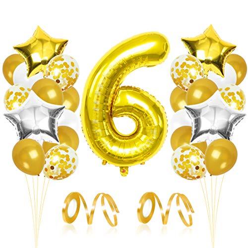 Bluelves Palloncini Compleanno 6 Anno, Palloncini d'oro 6, Palloncino Numero 6, Palloncini Pompleanno Oro, Compleanno Palloncini in Lattice Coriandoli Palloncini Kit
