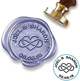 """Custom Wax Seal Stamp Kit with Sealing Wax-1"""" Die with Infinity Heart/Names/Date"""