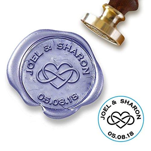 Wedding Custom Wax Seal Stamp Kit with Infinity Heart Wedding Date /& mailable Sealing Wax Wedding Couple Names