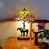 Tiffany-Stil Nachttischlampe 2-Light, 12 Zoll Libelle Buntglasperlen Dekor Lese Schreibtisch Lights, Schlafzimmer Wohnzimmer Nachtbeleuchtungskörper,B