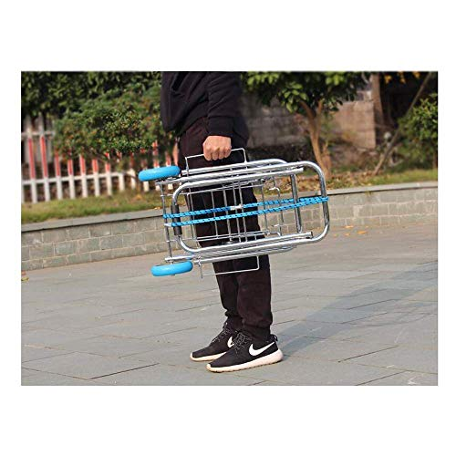 Dinta Mall Foldable Heavy Duty Handheld Heavy Luggage Hand Puller Trolley Carts 4 Wheels Shopping and Grocery Carry Carts for Luggage Transfer Trolley Home Travel and Office Godown Use