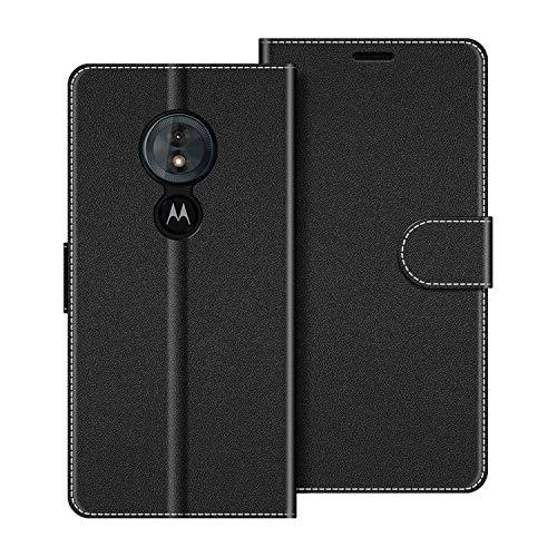 COODIO Handyhülle für Motorola Moto G6 Play Handy Hülle, Motorola Moto G6 Play Hülle Leder Handytasche für Motorola Moto G6 Play Klapphülle Tasche, Schwarz