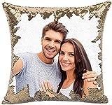MLMYH Cuscino Personalizzato con Foto, Cuscino Pailettes Argento, 40x40cm, Idea Regalo per Natale,...