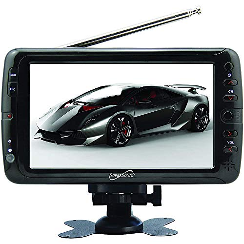 """Supersonic 7"""" Portable LCD TV with ATSC Digital Tuner, AC/DC Adapter and Rechargeable Battery SC-195D"""