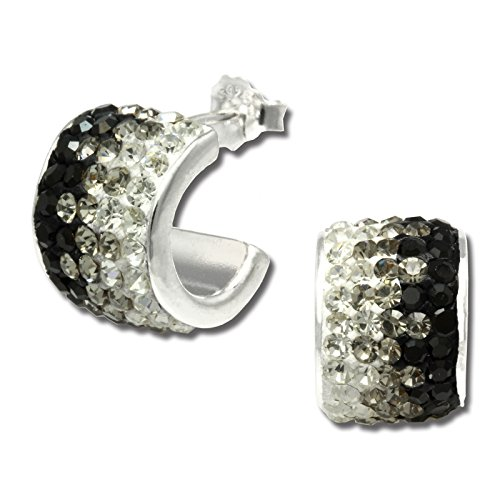 SilberDream Glitzer Creole Beauty weiß/schwarz Preciosa Glitzer Kristalle 925 Sterling Silber Ohrringe GSO007
