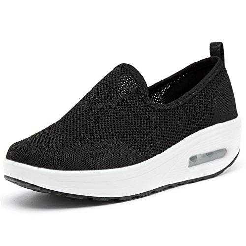Solshine Damen Air Mesh Sportschuhe mit Luftpolster Plateau Slip on Loafers Sneakers Schwarz 38EU