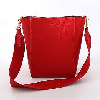 Fashion Spring New Wide Shoulder Strap Bucket Bag Leather Handbags Wild Shoulder Messenger Bag (Color : Red)