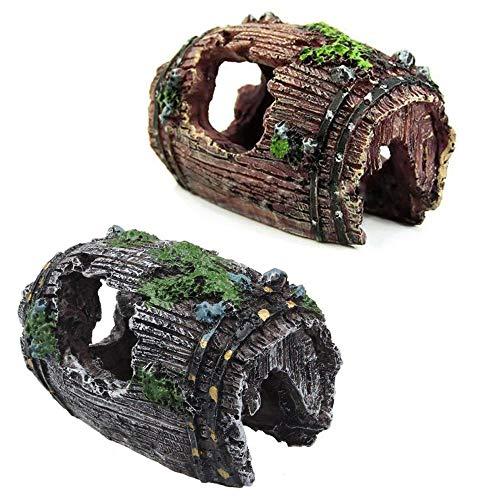 2pcs Decoración de la Cueva Acuario de la Roca con la Hierba Verde de los Pescados de Ocultación de Camarón,100% Sguro para la Dcoracion de Tanque de Pez