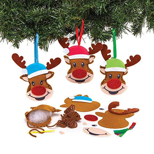 Baker Ross AT181 Reindeer Decoration Sewing Kits-Pack of 3, Christmas Arts and Crafts, Assorted