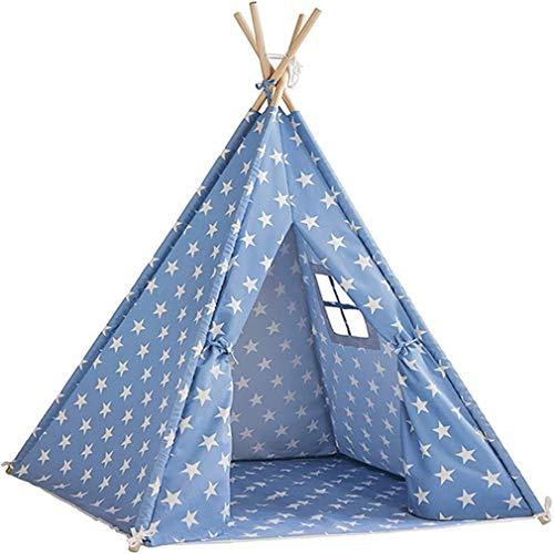 XWEM Kids Canvas Play Tent, Play Tent for Children Carry Case Indoor Playhouse Playhouse Mosquito Neto Cuatro Polos De Madera Teepee Decoración De La Habitación