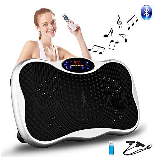 [5年保証] 振動マシン 3D振動 5種類のプログラムモード 振動調節99段階 Bluetooth 音楽プレイヤー機能付 筋力トレーニング 脂肪燃焼 超静音 ダイエット 体幹強化 日本語取扱説明書 (シルバー)