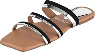 OSTRO Womens Stylish Patent Leather Square Shape Open Toe three strap chappal