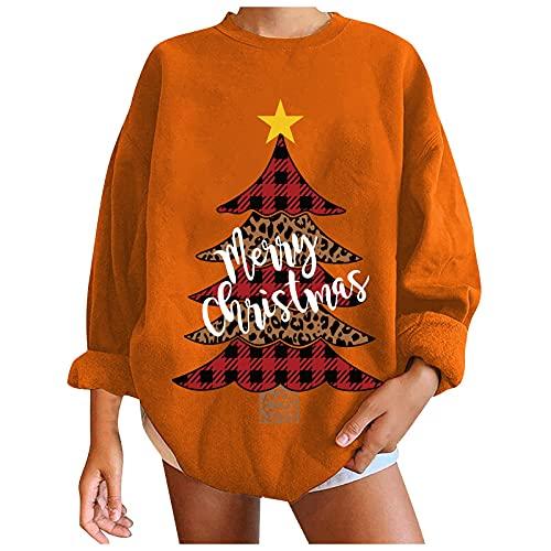 Suéter de moda de Navidad con estampado casual suelto y cuello redondo para mujer, #6 Naranja, L