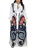 Aro Lora Women's African Print Long Sleeve Button Down Dashiki Maxi Dress Long Shirt Dress X-Large White