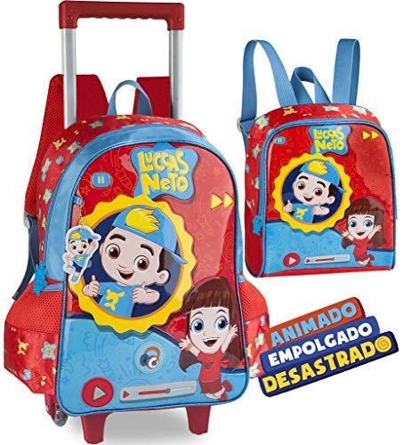 Kit Mochila Escolar Infantil Luccas Neto Grande Rodinha Carrinho Gi Aventureira Emite Som Alça De Costas + Lancheira térmica Alça Costas Menino Menina Clio Original