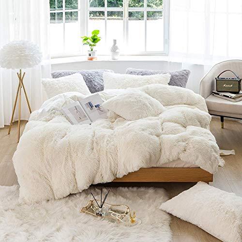 Sacebeleu Plüsch Bettwäsche Set 155x220cm Weiß Creme Warme Winter Flauschig Flanell Biber Mädchen Bettbezug Deckenbezug mit Reißverschluss und 1 Kissenbezug 80x80cm