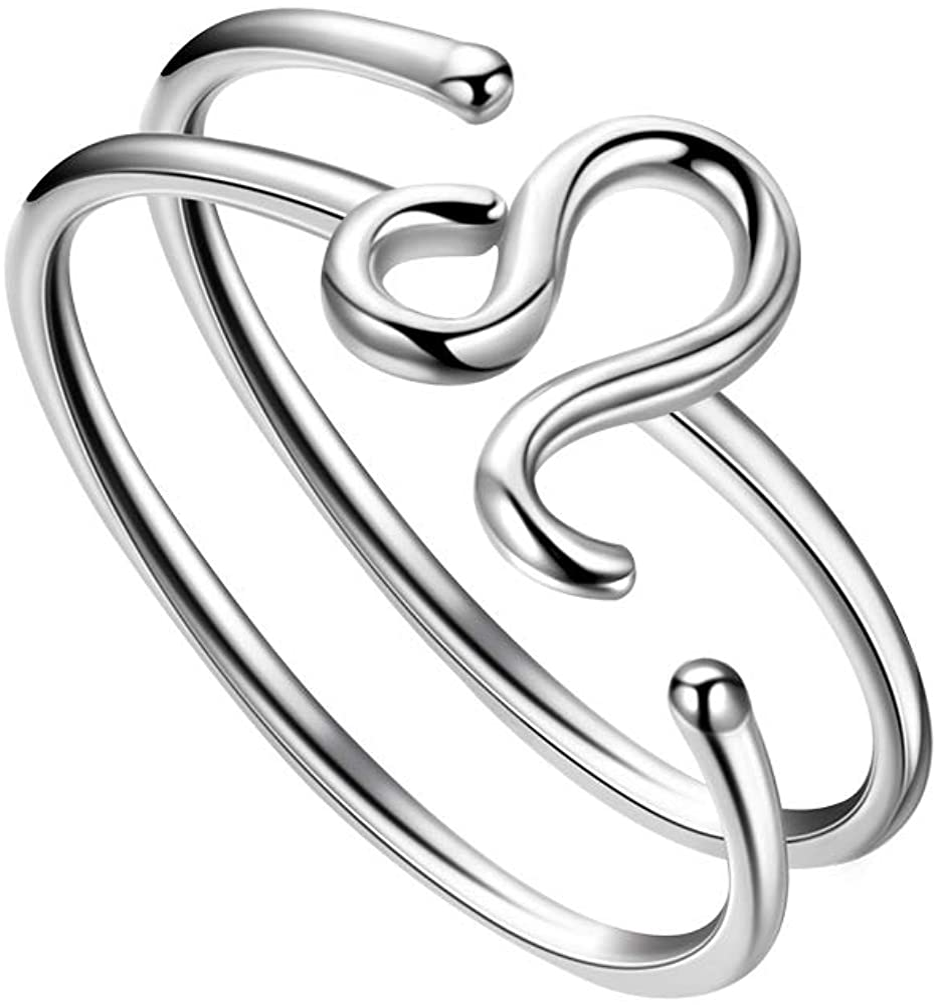 Besilver Anillo Ajustable del Zodiaco de Plata de Ley 925 con 12 Constelaciones de Doble Banda de Dedo para Mujeres y niñas, joyería de astrología