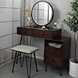 Tdbest Vanity Makeup Table Vanity Set with Lighted Mirror 3-Color Touch Screen and Storage Cabinet, Iron Frame Vanity Desk with Drawers and Bench (Brown)