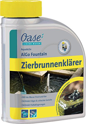 OASE 43144 AquaActiv AlGo Fountain Zierbrunnenklärer 500 ml für Zierbecken - effektiver Zierbrunnenreiniger ideal als schnelle Hilfe gegen Algen und Kalk in Dekobrunnen Zierbrunnen