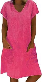 comprar comparacion Vestido Corto Informal con Bolsillos, Vestido de Verano de Yvelands para Mujer Vestido de Talla Grande Camiseta de algodón...