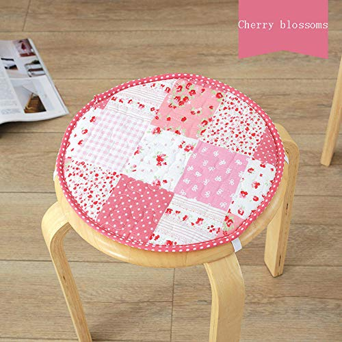 Qianbaobo ronde stoel van katoenen linnen, zitkussen voor kinderen, antislip, haken voor het sluiten, schattig rond kussen, 13 kersenbloesem, ca. 30 cm - 32 cm.
