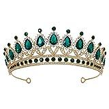 SWEETV Rhinestone Wedding Tiara for Women, Royal Queen Crown Headband, Crystal Princess Hair Accessories for Prom Birthday, Green